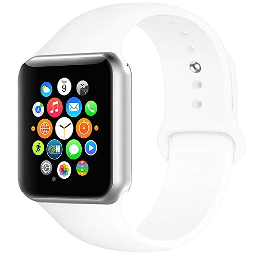 - BOTOMALL Compatible with Iwatch Band 38mm 40mm 42mm 44mm Classic Silicone Sport Replacement Strap Bracelet for Iwatch All Models Series 4 Series 3 Series 2 1 (White,38/40mm S/M)