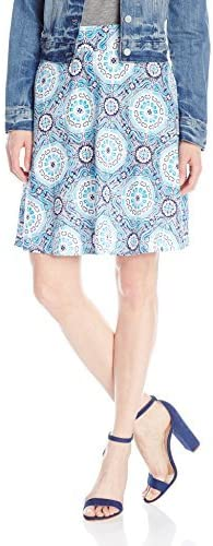 Caribbean Joe Womens Rayon Tile Print Pull On Knee Length Skirt