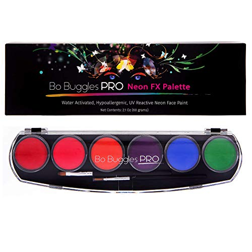 Bo Buggles Professional Neon FX Face Paint Kit UV Reactive Face Painting Palette. Water-Activated Loved by Pro Painters for Vibrant Detailed Designs. 12x10 Gram Paints +2 Brushes. Safe Quality Makeup -