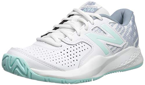 (New Balance Women's 696v3 Hard Court Tennis Shoe, White/Light Reef, 6.5 2E US)
