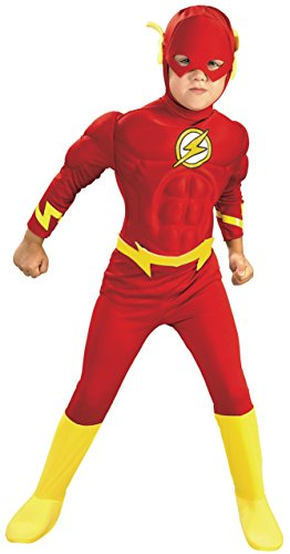 DC Comics Deluxe Muscle Chest The Flash Costume, (Superman Boot Tops)