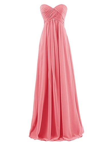 Dresstells Sweetheart Bridesmaid Chiffon Prom Dresses Long Evening Gowns Coral Size 6
