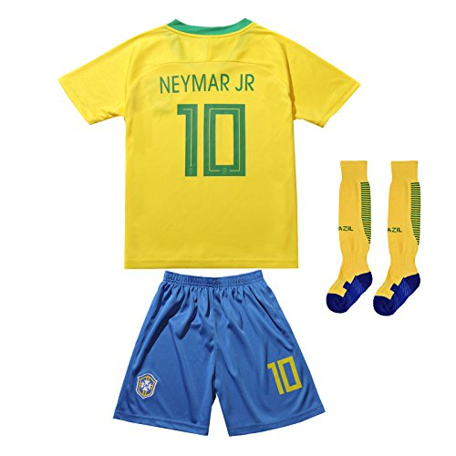 FCB BRAZIL NEYMAR JR #10 Home Football Soccer Kids Jersey Short Socks Set Youth Sizes (Short (2018 Edition), 10-11 YEARS)