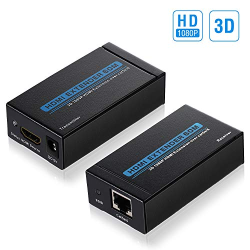 HDMI Extender,OCDAY 196Feet/60Meter 1080P Hdmi Extender over Single Cat 5e/6 Ethernet Cable Support 3D Video,EDID Function