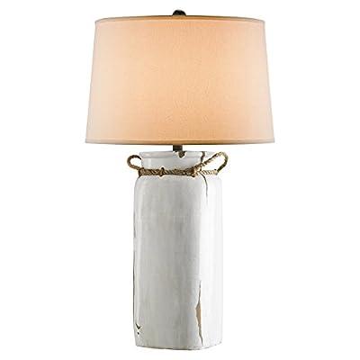 Gleda Coastal Beach Rustic White Terracotta Bottle Table Lamp