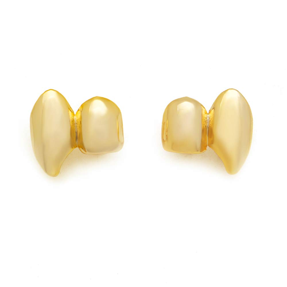 LuReen 14k Gold Silver Shiny Double Vampire Fangs Grills Top Bottom Teeth Grillz Combo LD0051