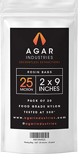 Agar Industries - Rosin Press Filter Bag - Screens for Solventeless Oil Extractions in Rosin Tech (20 pack, 2x9 in. 25 micron)