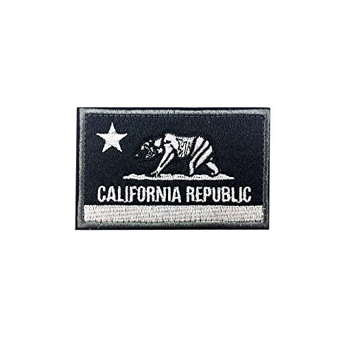 America California Republic CA State Flag Tactical Morale Patches (White Black)