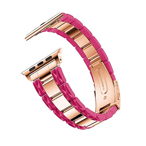 Cellulose Acetate Made Strap for Apple Watch Band 38mm with Metal Links Bracelet Smart Wristband for Apple Watch Series 1 2 3 4 (Rosy)