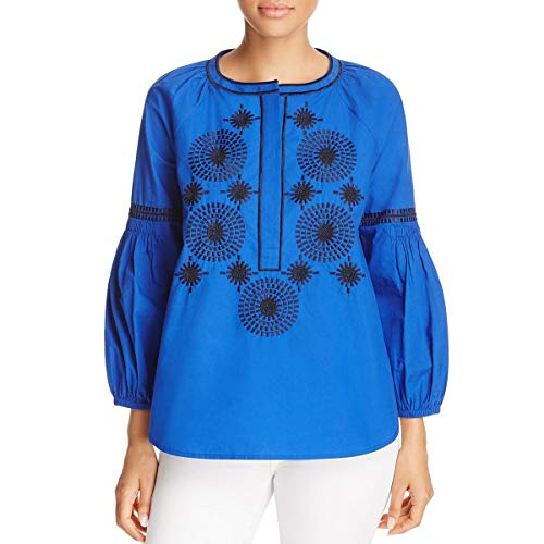 - Tory Burch Womens Embroidered Embellished Button-Down Top Blue 2