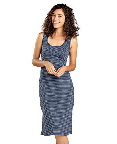 Toad&Co Women's Samba Paseo Midi Dress, Deep Navy Mini Stripe, XL
