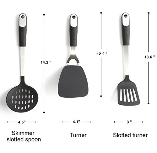 REDKOCO - 23 Piece Premium Stainless Steel Kitchen Utensils with Nylon Heads – Ultra Resilient and Superior Quality Cookware Set Pizza Cutter, Measuring Cups, Whisk, Tongs, Grater, Turner etc