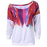 iDWZA Women Casual Loose Colorful Feather Printed Pullover Tops Blouse Sweatshirt(5XL,White)