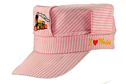 Pinnacle Awards The Real Deal Girls Red Steam Engine Embroidered Train Engineers Hat with  I Love Trains]()