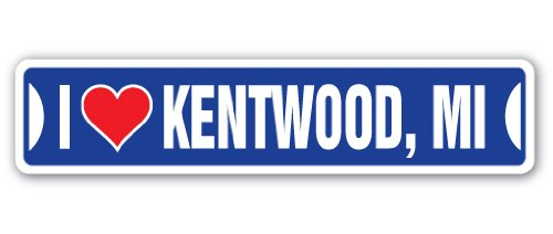 I LOVE KENTWOOD, MICHIGAN Street Sign mi city state us wall road décor gift (City Of Kentwood Michigan)