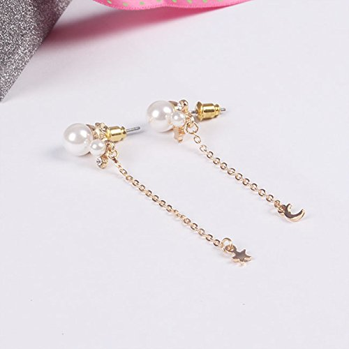 18K Gold Plated Asymmetric CZ Rhinestones Imitation Pearls Moon and Star Women Girls Tassel Drop Stud Earring