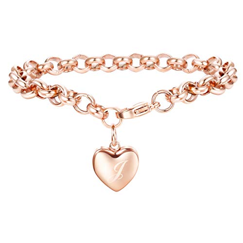 Adramata Rose Gold Personalized Initial Bracelets for Women Girls Customized Heart Cute Ankle Bracelets Adjustable J