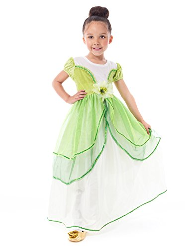 Little Adventures Traditional Lily Pad Princess Girls Costume - X-Large (7-9 Yrs) - Princess And Frog Halloween Costume