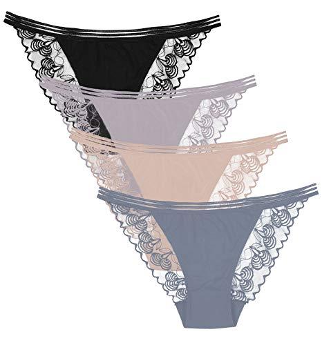 Vegatos 4 Pack Ladies Lace Bikini Underwear Soft String Thong Hipster Panties XL