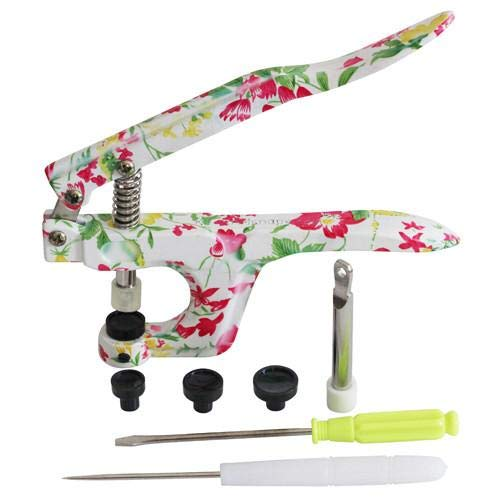 Floral KAMsnaps Hand Pliers Press Tool for Plastic Snaps Size 20, 22, 24 Punch Poppers Button Snap Fastener Press Attacher for KAM Snaps (NOT Compatible w/ Metal Snaps) by KAMsnaps