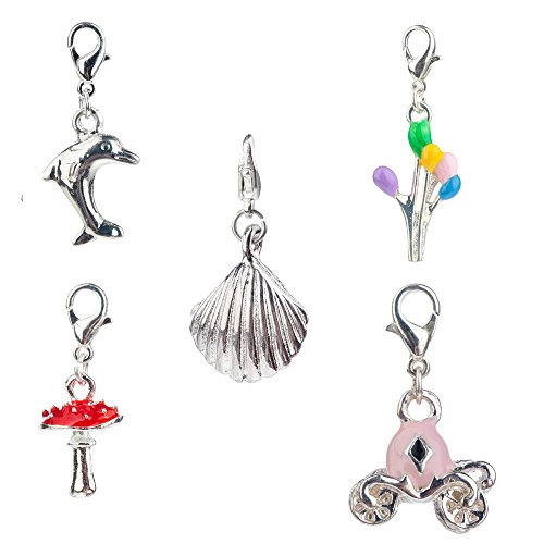 Best Value And Quality Set of 5 Cute Silver Colored Clip On Pendants / Charms For Bracelets / Bangles In Shapes of Sea Shell, Pink Magic Pumpkin Carriage, Red Dotted Fly Agaric Mushroom, Dolphin And Colorful Balloons By VAGA Carriage Dangle Bead