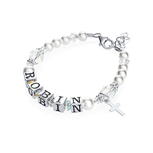 Personalized Name Christening Toddler Bracelet with Swarovski Crystals (BWNP_S)