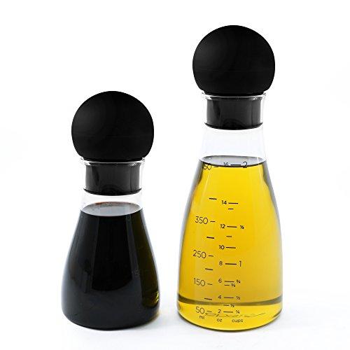 Eparé Olive Oil and Vinegar Bottle Dispenser Set – Glass Container Cruet Jars for Oils and Balsamic – Drip Catching Spout Pourer No Spill Spout