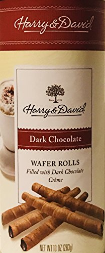 Exclusive Harry & David Wafer Chocolate Rolls! Choose From Dark Chocolate or Chocolate Hazelnut! Delicate Rolled Wafers Filled With Chocolate Creme! 10oz Package! (Dark Chocolate)