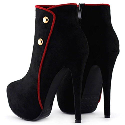 Mostrar historia elegante botón verde/negro del talón de estilete botas de tobillo plataforma, LF80829 Negro - negro