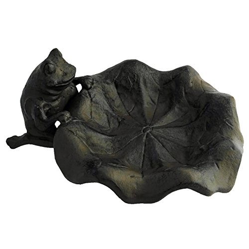 The Crabby Nook Small Bird Feeder Cast Iron Outdoor (Lily-Leaf with Frog)