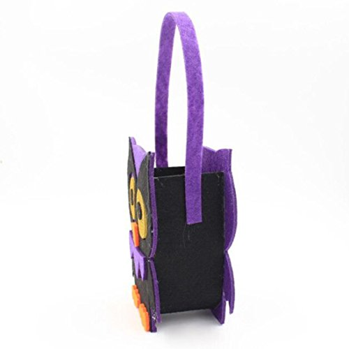 Paper Bag Mask Costume - Halloween Pumpkin Bag Kids Candy Handbag Bucket Children Funny Candy Bag for Halloween Party Costumes (Purple)