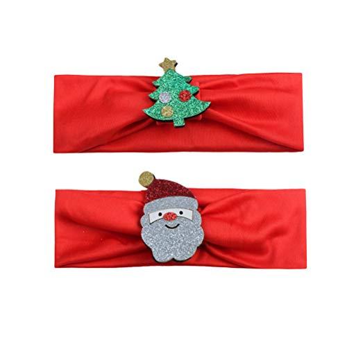 PRETYZOOM 2pcs Bebé Navidad niña Diadema Navidad Cabeza Envoltura Suave elástica Sombrero Accesorio de Vestuario (Rojo)