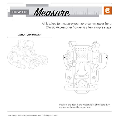 Classic Accessories StormPro RainProof Heavy Duty Zero Turn Mower Cover, Large