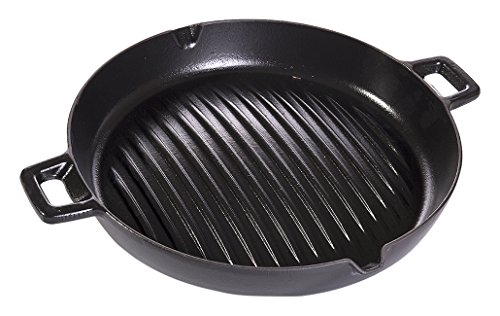 Essenso Convex Curved Base Cast Iron Grill Pan with 4-Layer Enamel Coating, Induction Compatible, 11.8'', Black by Essenso