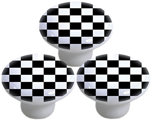 Black Checkered Ceramic Cabinet Drawer Knobs (Set of 3 Knobs) (Novelty Cabinet Pulls)