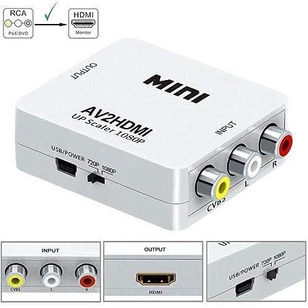 FidgetGear RCA AV/CVBS to HDMI Adapter HD 1080P Mini AV2HDMI