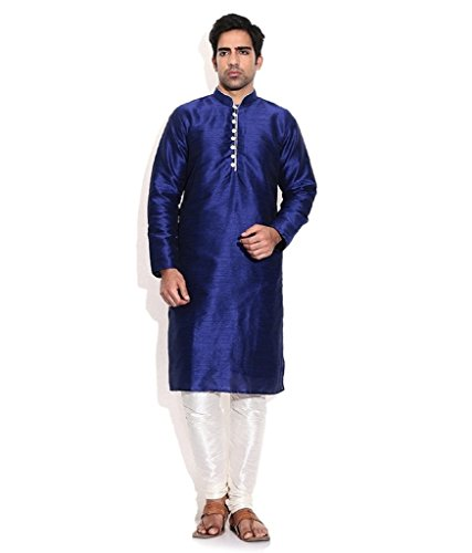 Royal Kurta Men's Silk Blend Occassional Wear Loopbutton Kurta Set 44 Blue