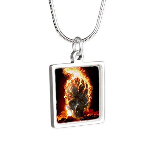 Royal Lion Silver Square Necklace Flaming Skull - Flaming Skull Necklace