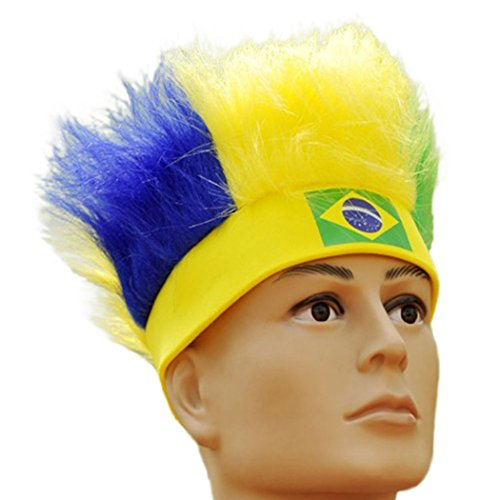 Raylans Mens Womens Football Soccer Fans Wig 31 Countries World Cup Cheerleading Fuzzy Head Wig (Brazil National Costume Men)