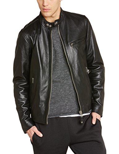 Nyc Longues Uni Lc949d Manches Homme black Noir Blouson Schott Hd6FxAF