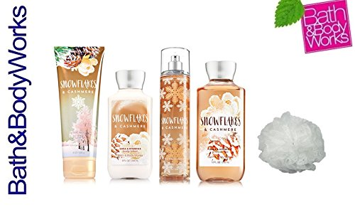 (Bath & Body Works SNOWFLAKES & CASHMERE Deluxe Gift Set Lotion ~ Cream ~ Fragrance Mist ~ Shower Gel + & FREE Shower Sponge Lot of 5)