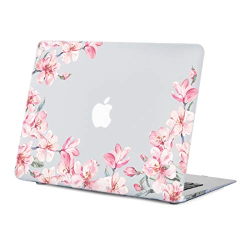 MacBook Air 13.3 inch Case Floral, Cherry Bloom Clear Case for MacBook Air 13.3 inches Model:A1466/A1369, Rubberized Soft-Touch Matte See Through Hard Shell Case with Keyboard -