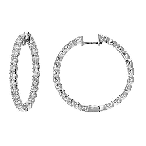 4 cttw SI2-I1 Certified Diamond Inside Out Hoop Earrings 14K White Gold (H-I)