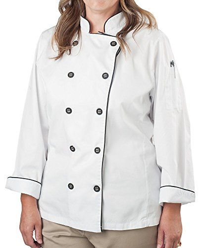 KNG Women's Wrinkle Resistant Chef Coat, White with Black Accent, L by KNG