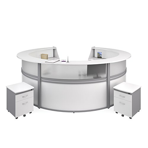 Modular Unit Reception (OFM Marque Plexi 5-Unit Reception Station - Office Furniture Receptionist/Secretary Desk with Two White Pedestals (PKG-55316-WHITE))