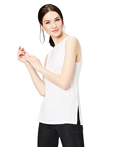 Rayon Shell - Daily Ritual Women's Jersey Sleeveless Shell Top with Side Splits, L, White