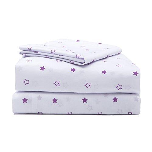 Girls Toddler Sheet Set, 3-Piece Purple Stars by Delta Children (Bedding Toddler Classic)