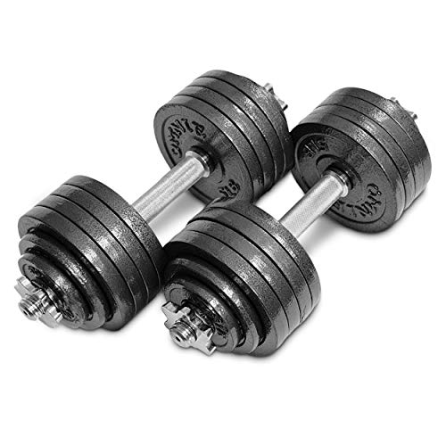 Omnie Adjustable Dumbbells with Gloss Finish and Secure Fit Collars for Crossfit WOD Weightlifting and Bodybuilding for Health Fitness and Flexibility. Available in 65 LBS, 105 LBS and 200 LBS Pair