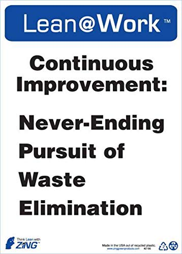 ZING 2186 Lean at Work Sign, Continuous Improvement, 14Hx10W, Recycled Plastic (4 Pack)