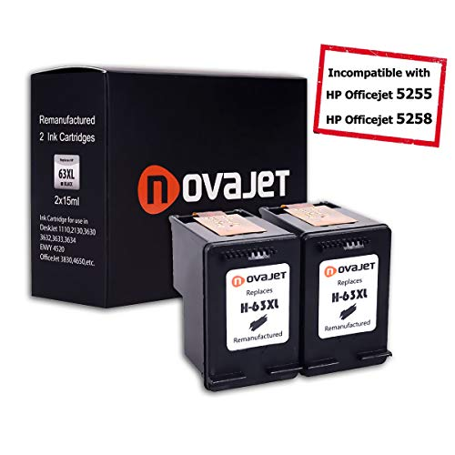 Novajet Remanufactured Ink Cartridge Replacement for HP 63XL 63 XL (2 Black) High Yield Compatible with HP DeskJet 3633 All-in-One HP Envy 4520 All-in-One HP OfficeJet 3830 4650 All-in-One Printer